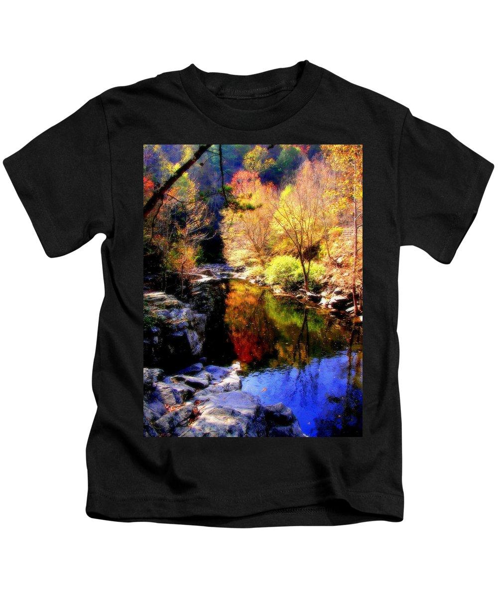 Autumn Warterscapes Kids T-Shirt featuring the photograph Splendor Of Autumn by Karen Wiles