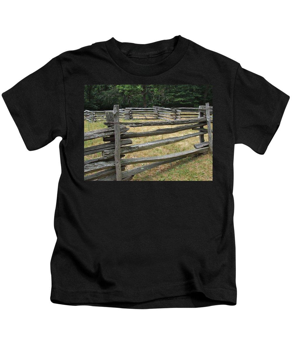 Split Rail Kids T-Shirt featuring the photograph Split Rail Corral by Susan Wyman
