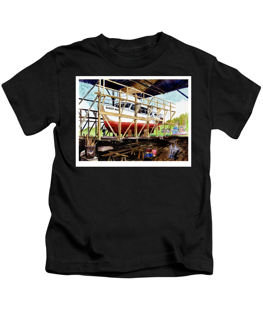 Marinas Kids T-Shirt featuring the painting Yacht Glacier Bear Hauled Out In Gig Harbor by Jack Pumphrey