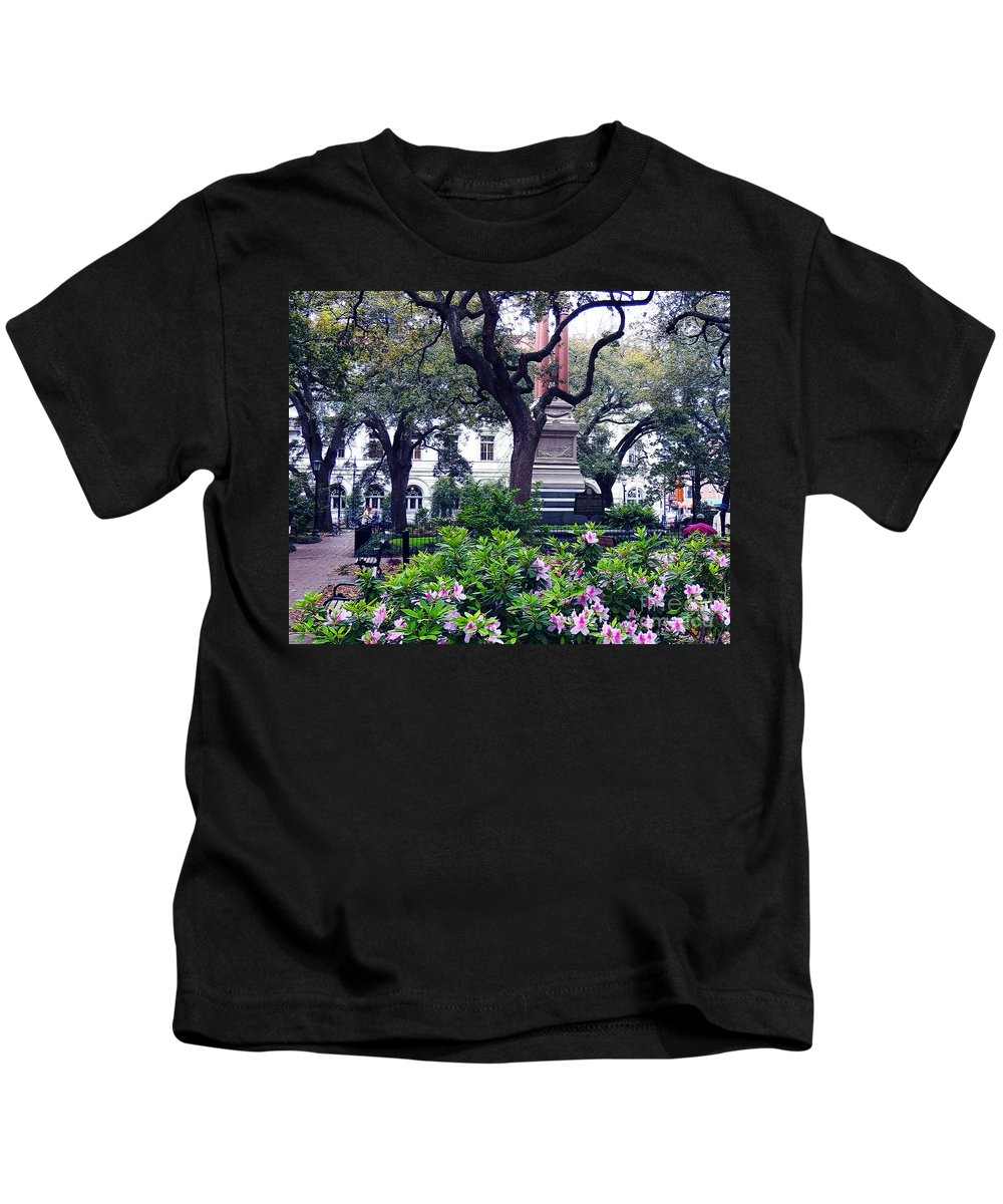 Spring Kids T-Shirt featuring the photograph Spring In The Square by Lydia Holly
