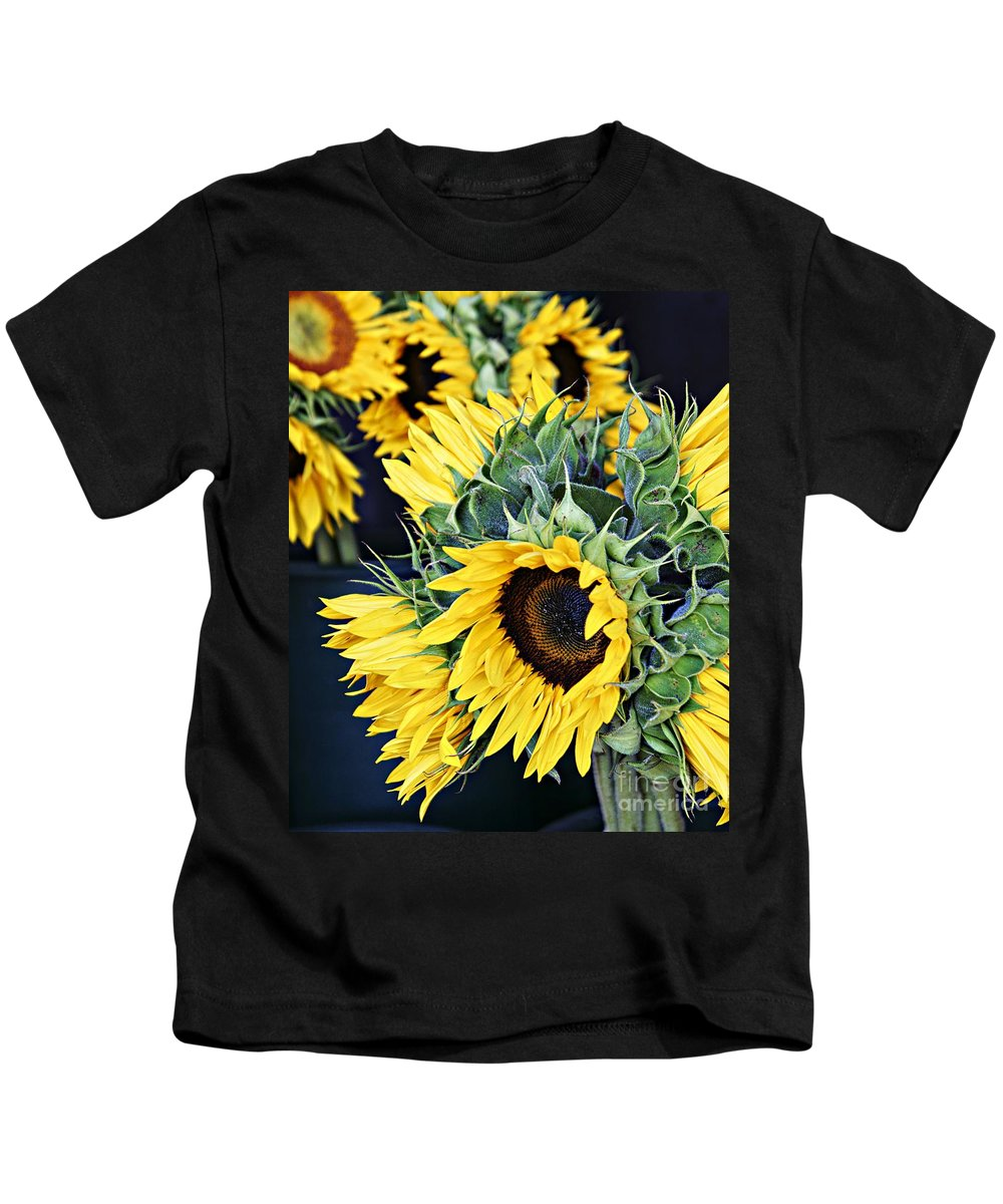 Sunflowers Kids T-Shirt featuring the photograph Spring Sunflowers by Lilliana Mendez