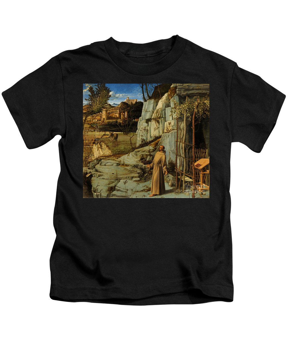 Bellini Kids T-Shirt featuring the painting St Francis Of Assisi In The Desert by Giovanni Bellini