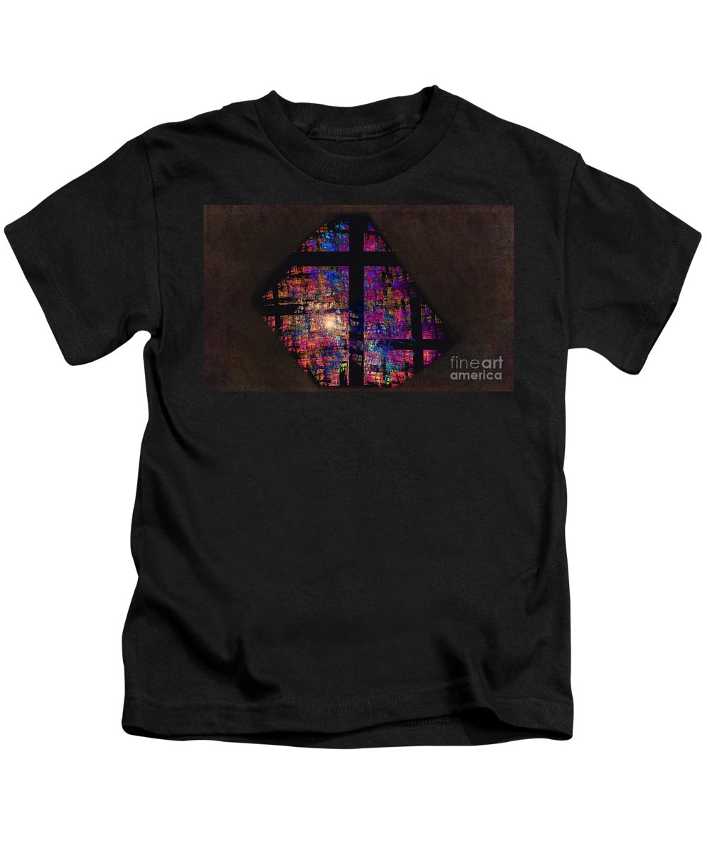 Stained Glass Kids T-Shirt featuring the photograph Stained Glass Cross by David Arment