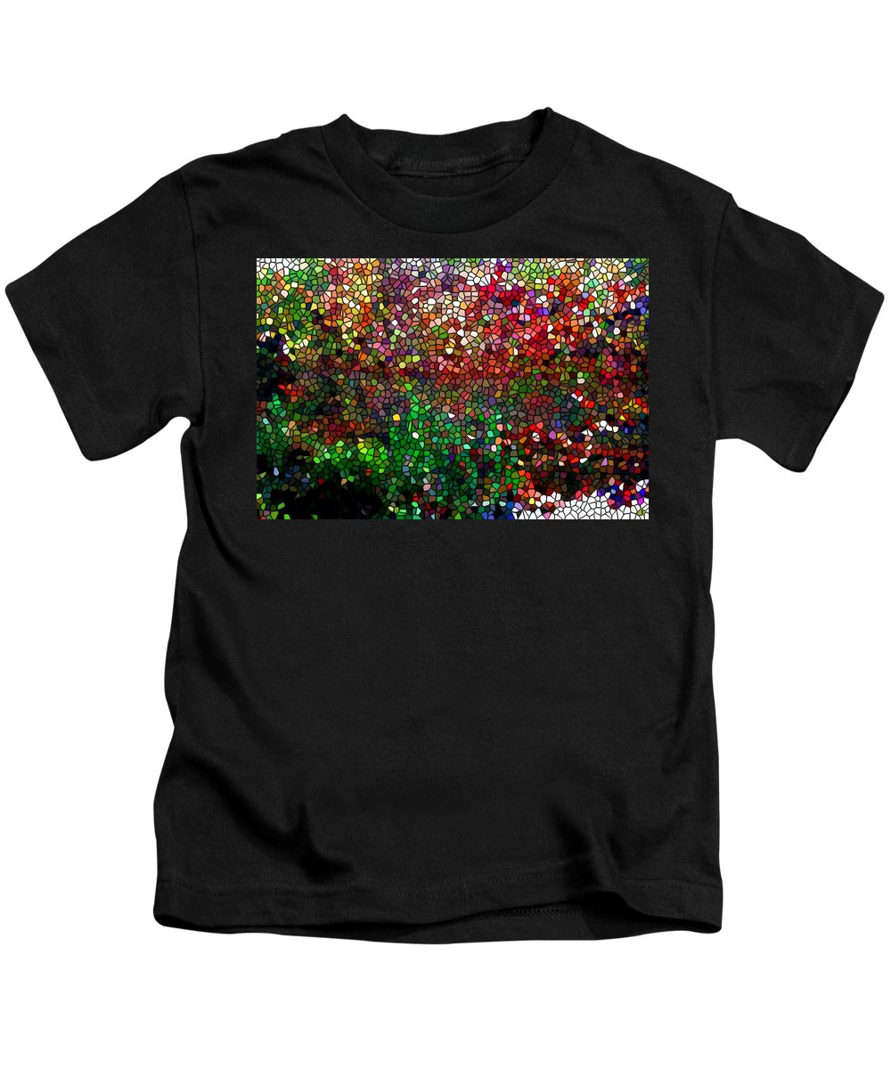 Stained Glass Fall Reflected In The Still Waters Kids T-Shirt featuring the painting Stained Glass Fall Reflected In The Still Waters by Jeelan Clark