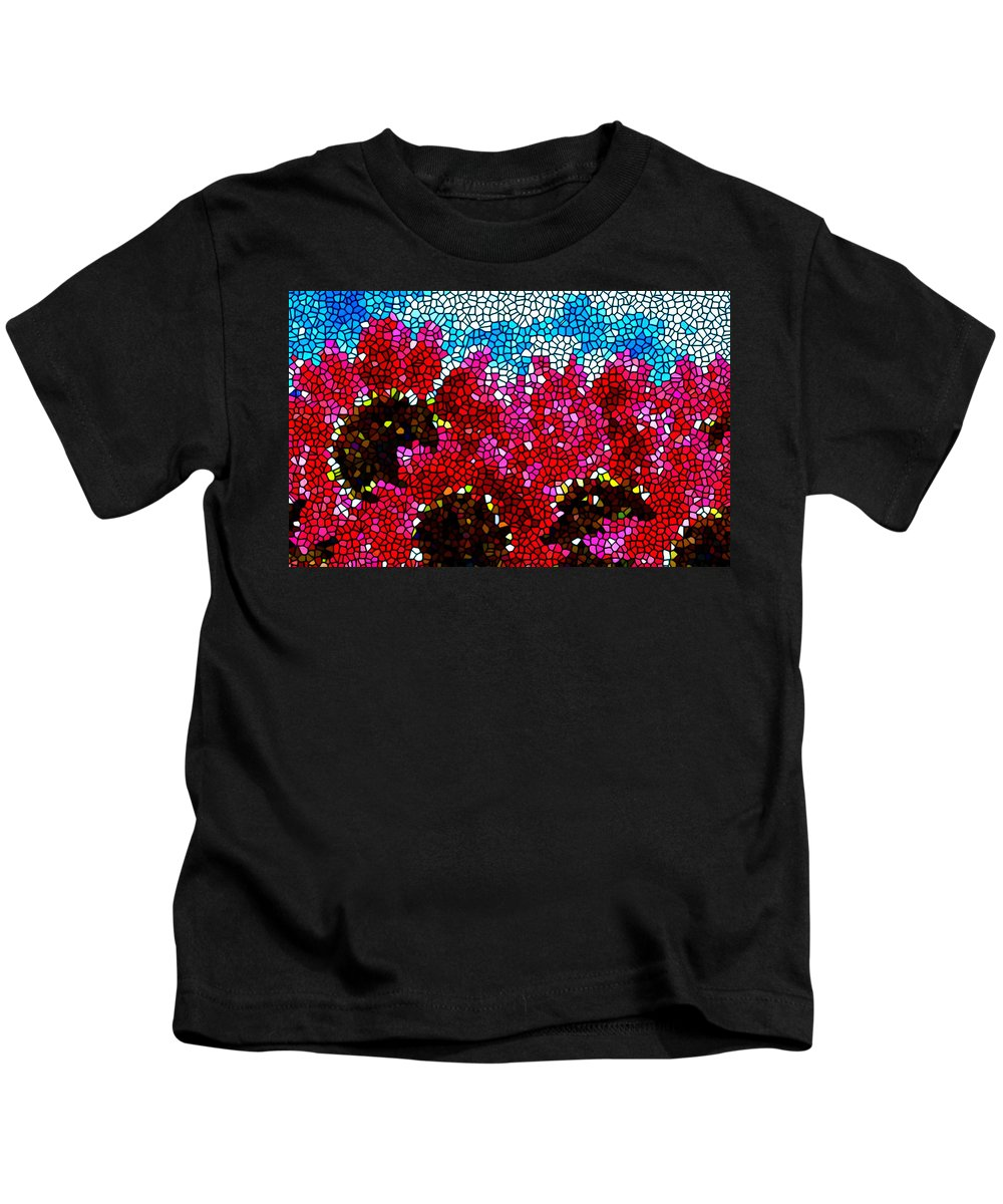 Stained Glass Red Sunflowers Kids T-Shirt featuring the painting Stained Glass Red Sunflowers by Jeelan Clark