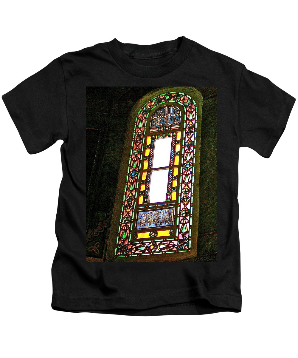 Stained Glass Window In Saint Sophia's In Istanbul Kids T-Shirt featuring the photograph Stained Glass Window In Saint Sophia's In Istanbul-turkey by Ruth Hager