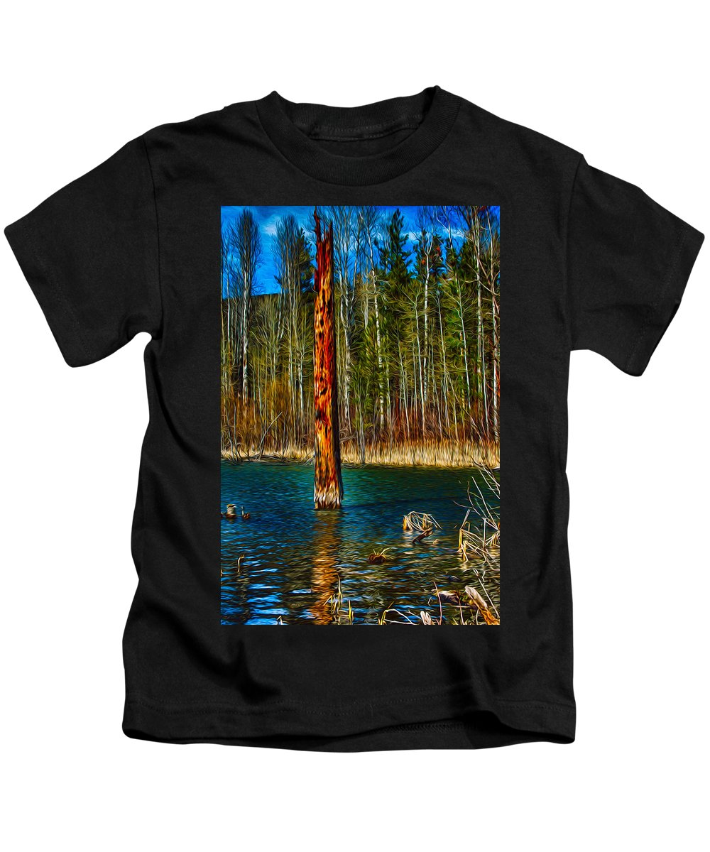 Beaver Kids T-Shirt featuring the painting Standing Alone by Omaste Witkowski