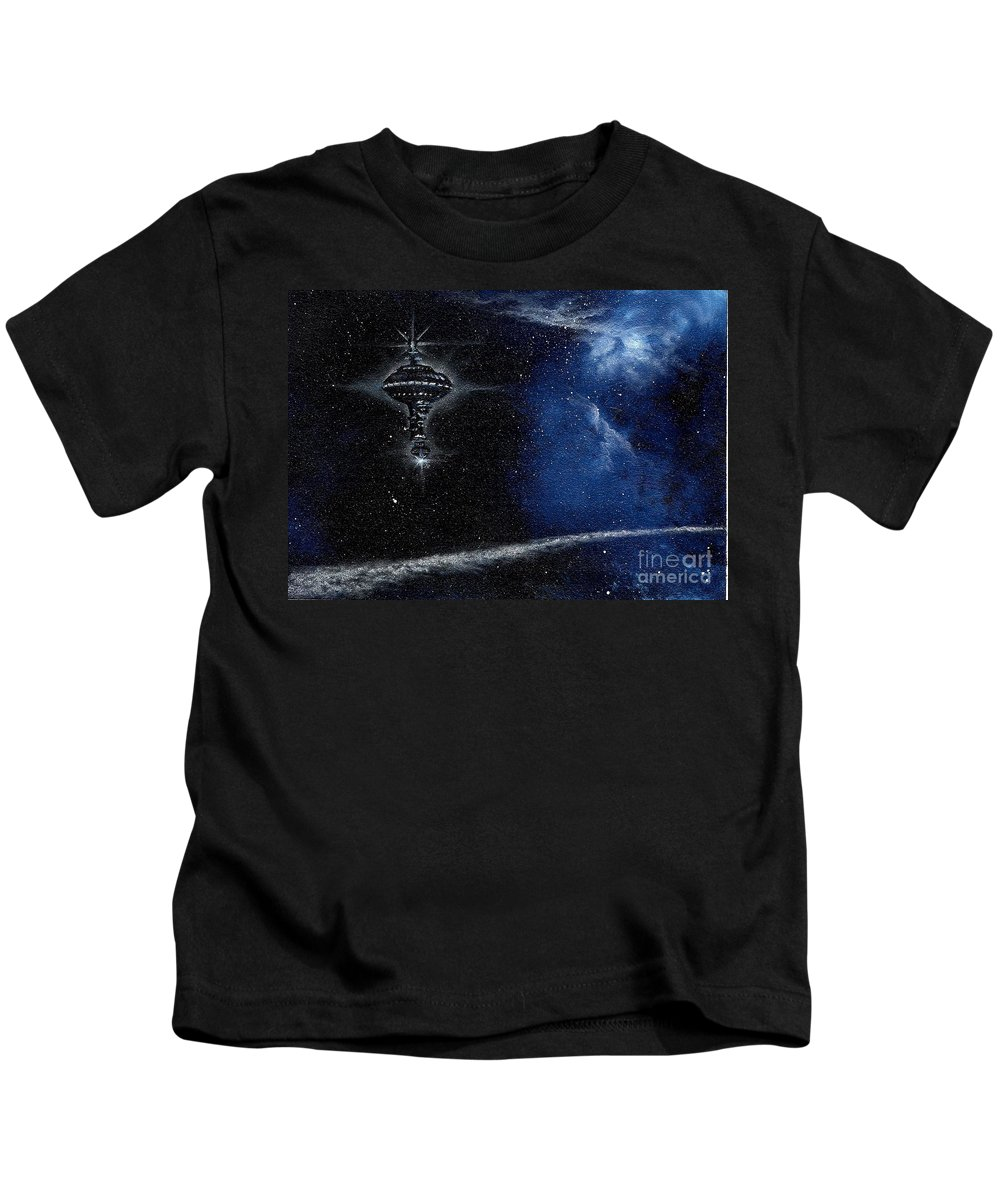 Cosmic Art Kids T-Shirt featuring the painting Station In The Stars by Murphy Elliott