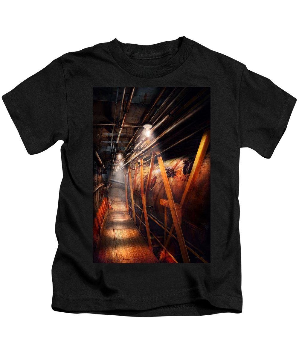 Plumber Kids T-Shirt featuring the photograph Steampunk - Plumbing - The Hallway by Mike Savad