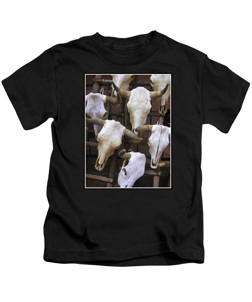 New Mexico Kids T-Shirt featuring the photograph Steer Skulls - New Mexico by Dora Sofia Caputo Photographic Design and Fine Art