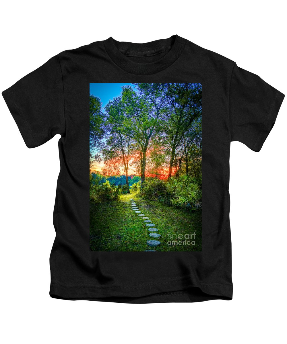 Stepping Stones Kids T-Shirt featuring the photograph Stepping Stones To The Light by Marvin Spates