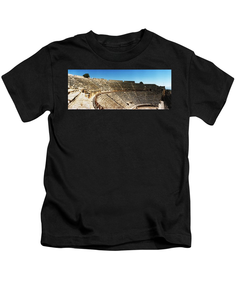 Photography Kids T-Shirt featuring the photograph Steps Of The Theatre In The Ruins by Panoramic Images