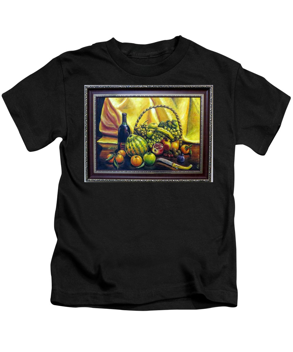 Still Life Kids T-Shirt featuring the painting Still Life With Basket by Kazim C