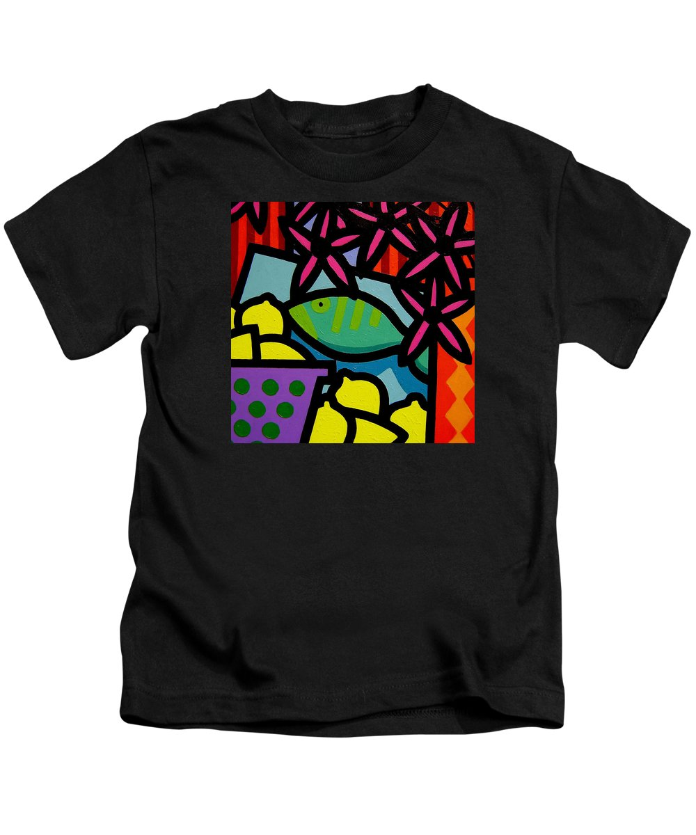 Fish Kids T-Shirt featuring the painting Still Life With Fish by John Nolan
