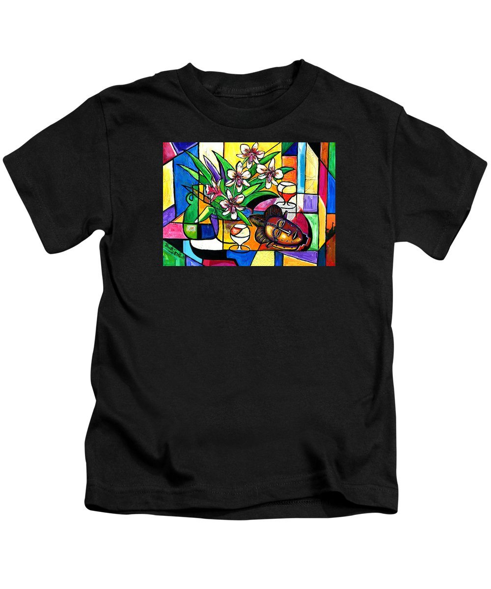 Everett Spruill Kids T-Shirt featuring the painting Still LIfe with Orchids and African Mask by Everett Spruill