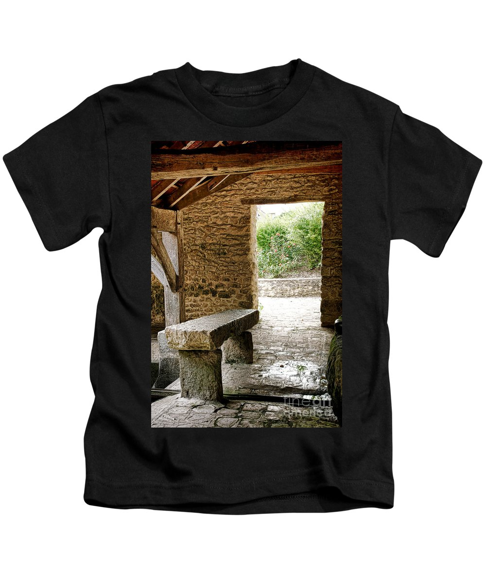 France Kids T-Shirt featuring the photograph Stone Bench by Olivier Le Queinec