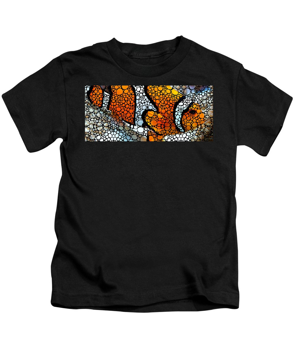 Fish Kids T-Shirt featuring the painting Stone Rock'd Clown Fish By Sharon Cummings by Sharon Cummings