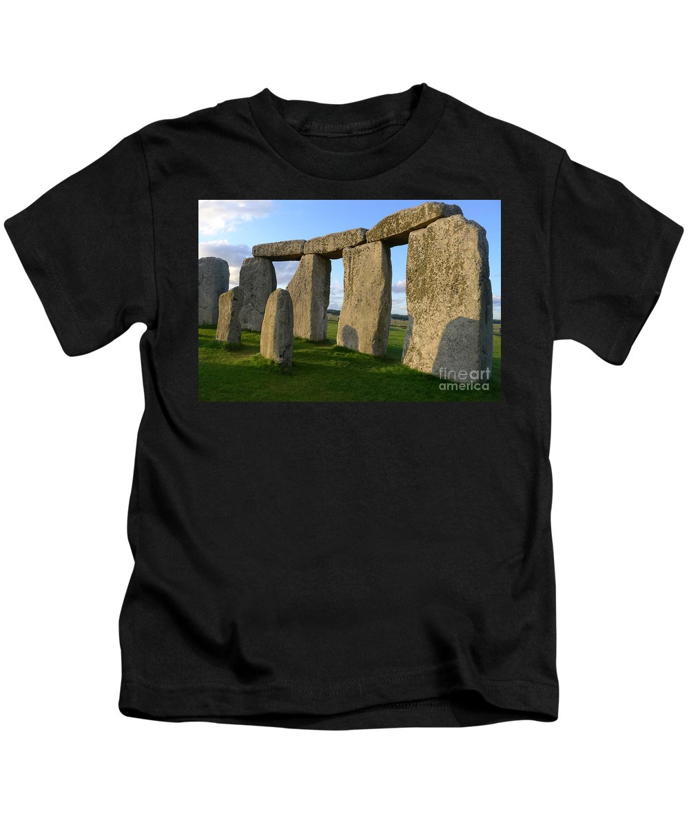 Stonehenge Kids T-Shirt featuring the photograph Stonehenge And Shadows by Denise Mazzocco
