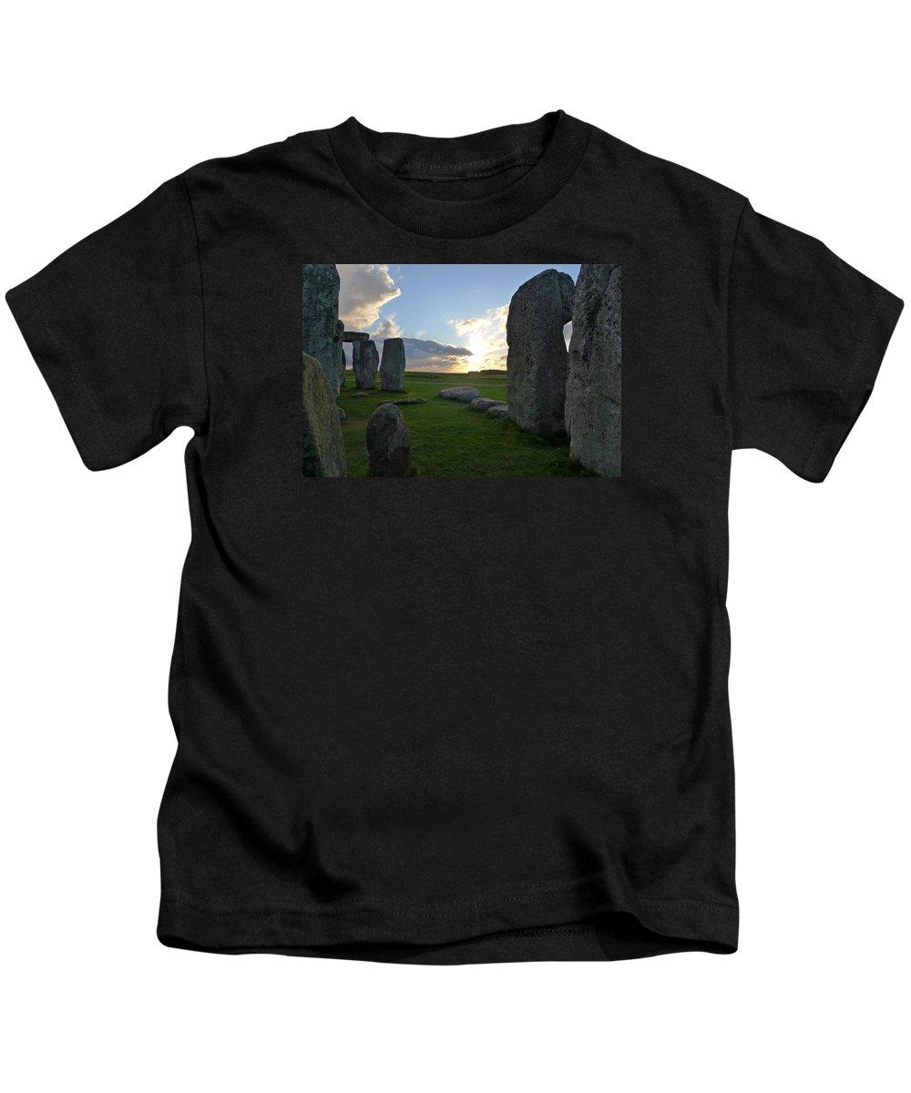 Stonehenge Kids T-Shirt featuring the photograph Stonehenge At Dusk by Denise Mazzocco
