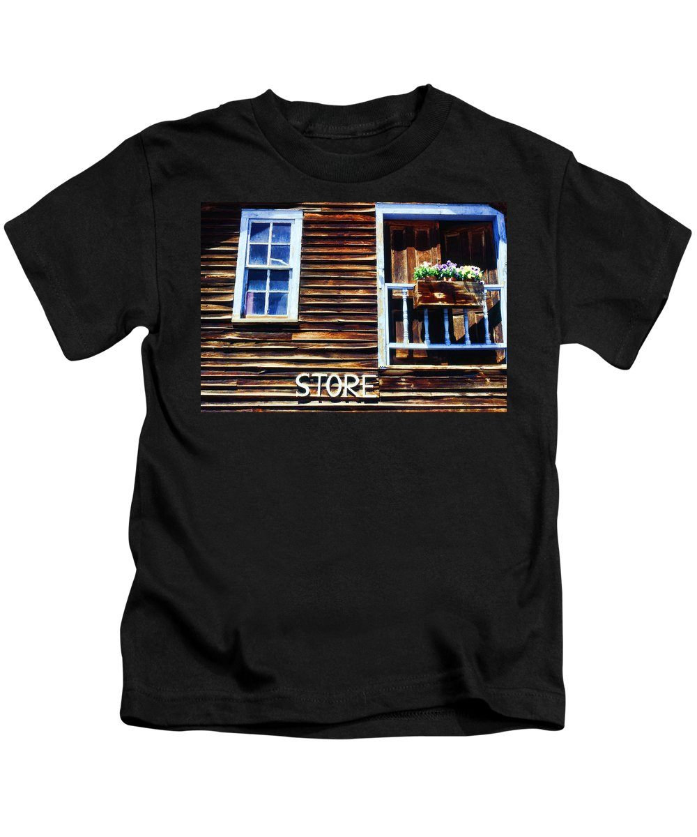 Store Kids T-Shirt featuring the photograph Storefront Rustic by Cathy Anderson