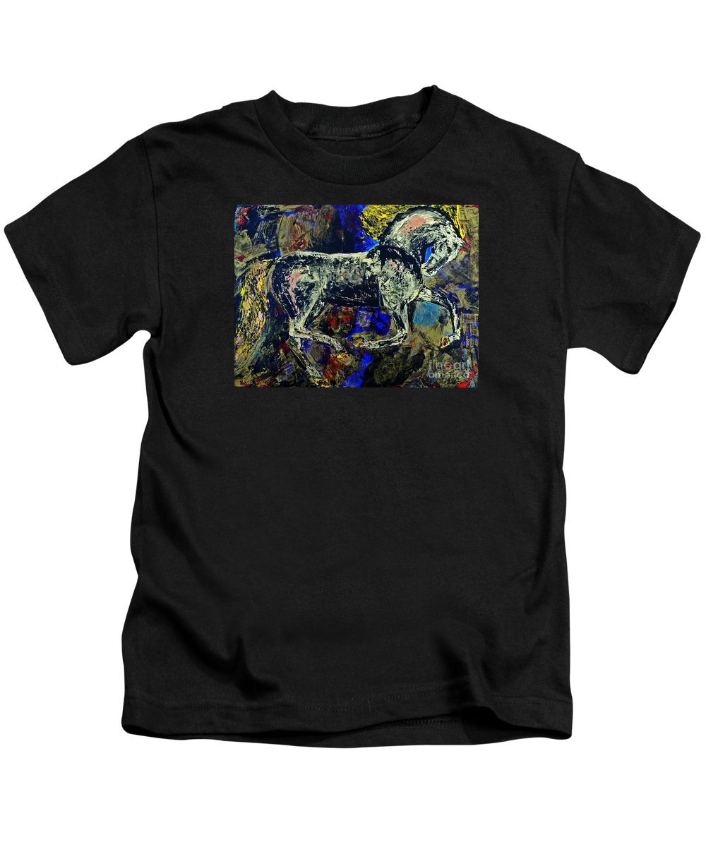 Horses Kids T-Shirt featuring the painting Storm Of Love by Valerie Phillips