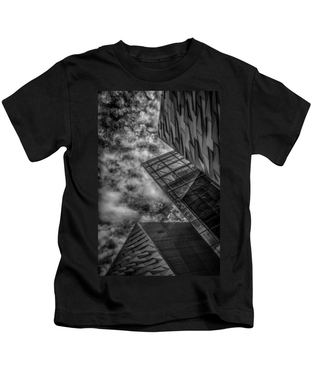 Bw Kids T-Shirt featuring the photograph Stormy Clouds Over Modern Building by Gareth Burge Photography