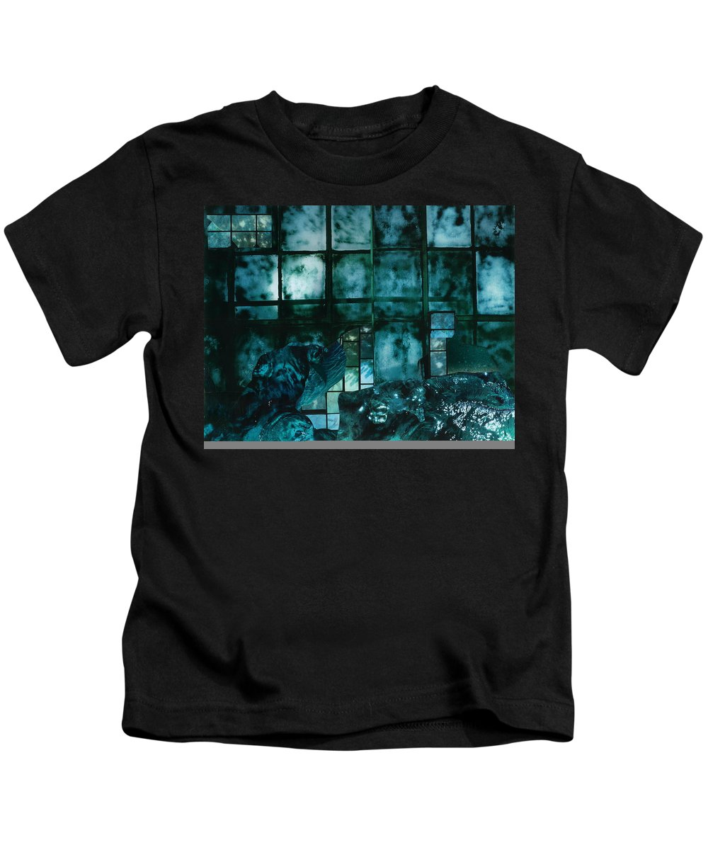 Stormy Night Kids T-Shirt featuring the mixed media Stormy Night by Denise Mazzocco