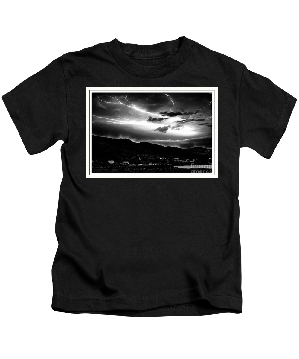 Stormy Sky Kids T-Shirt featuring the photograph Stormy Sky - Lightening - Small Town by Barbara Griffin