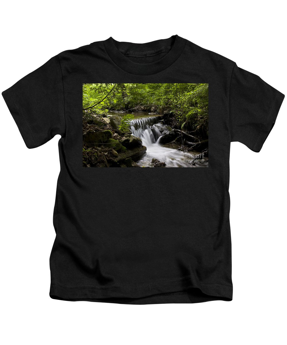 Stream Kids T-Shirt featuring the photograph Stream In The Forest by Janique Robitaille