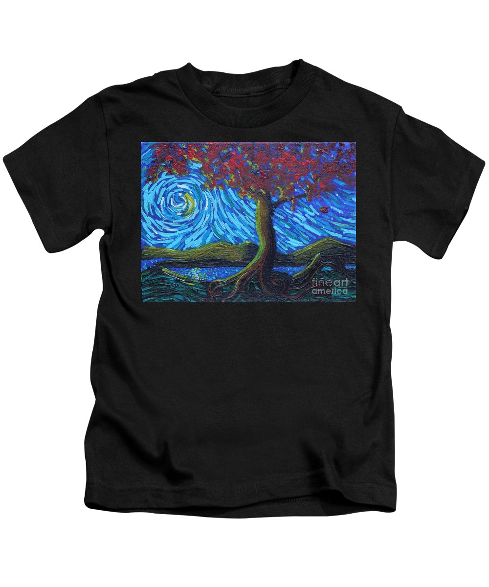 Landscape Kids T-Shirt featuring the painting Streaming Along by Stefan Duncan