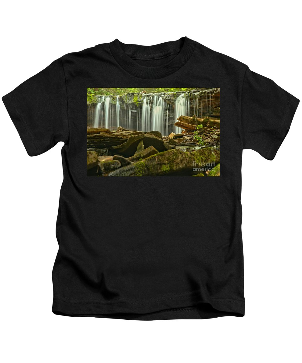 Oneida Falls Kids T-Shirt featuring the photograph Streaming Toward The Rocks by Adam Jewell