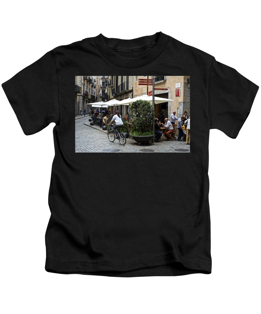 Girona Kids T-Shirt featuring the photograph Street Corner Girona Spain by Christopher Rees