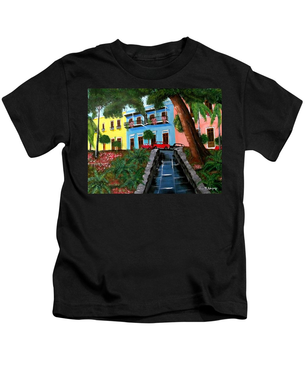 Old San Juan Kids T-Shirt featuring the painting Street Hill In Old San Juan by Luis F Rodriguez