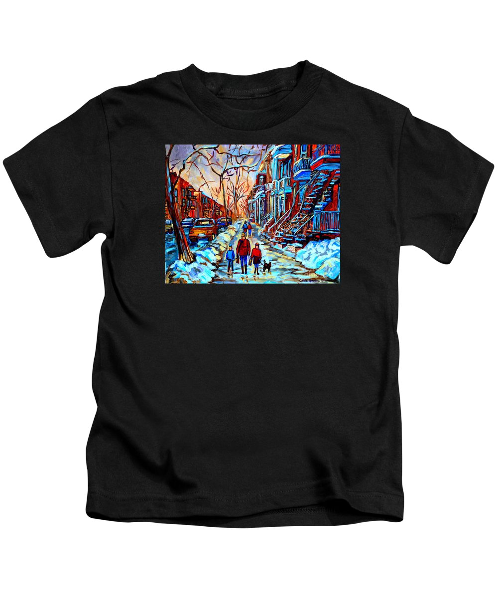 Montreal Kids T-Shirt featuring the painting Streets Of Montreal by Carole Spandau