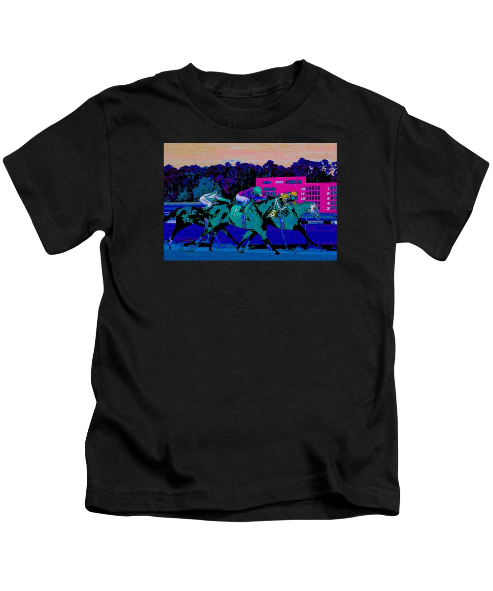 Racetrack Kids T-Shirt featuring the photograph Stretch Run by Theresa Cummings