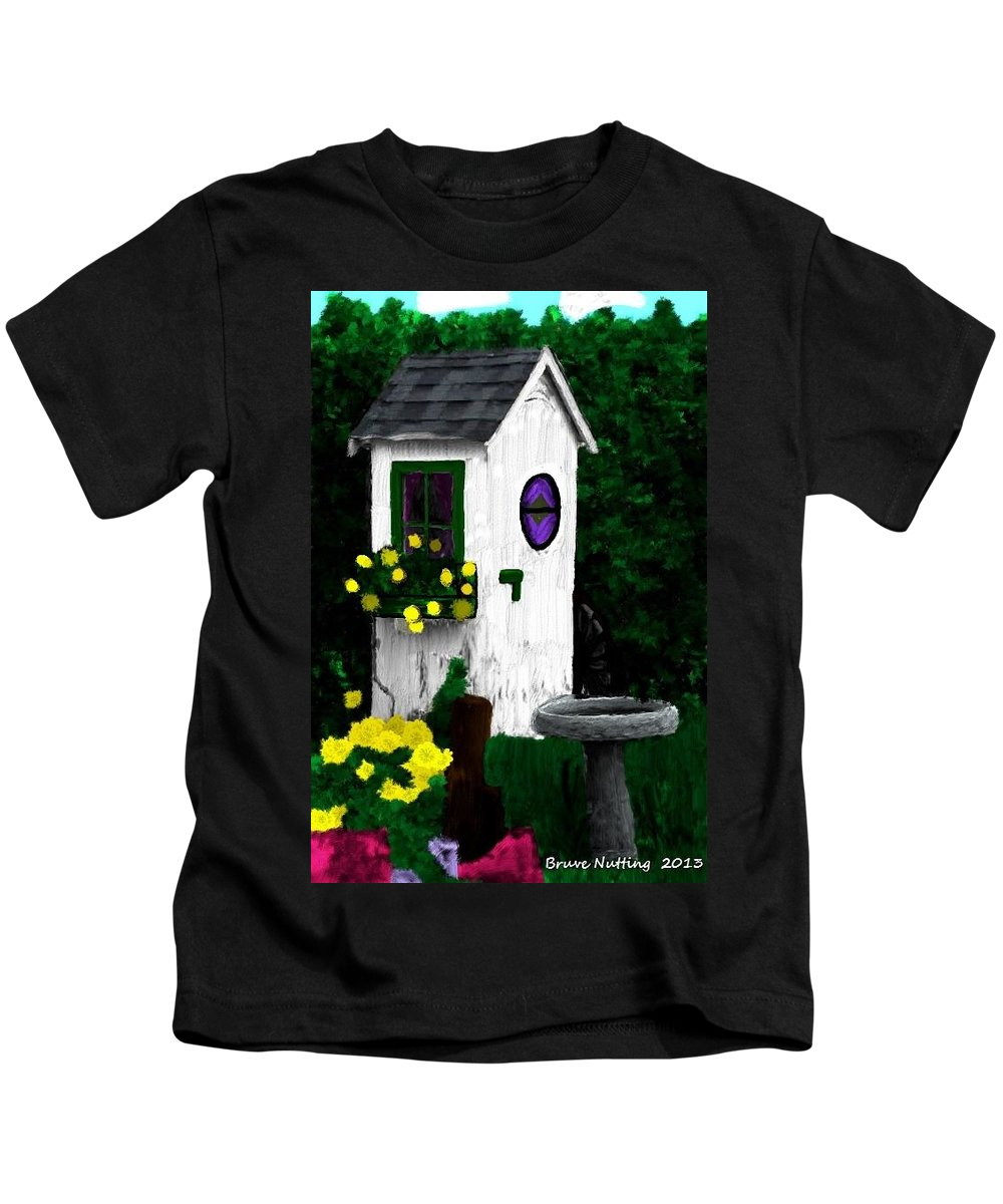 Outhouse Kids T-Shirt featuring the painting Stylish Outhouse by Bruce Nutting