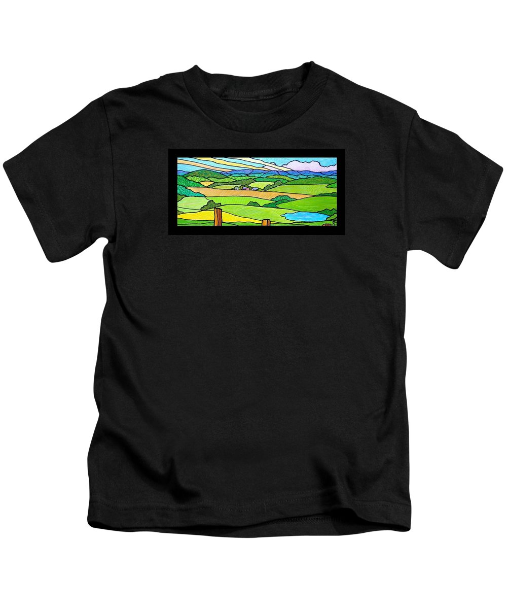 Shenandoah Valley Kids T-Shirt featuring the painting Summer In The Shenandoah Valley by Jim Harris