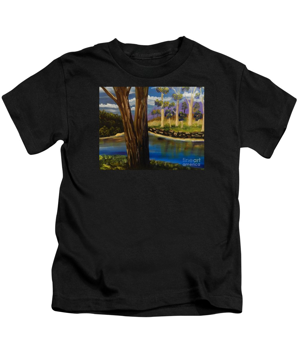 Snowy-river Kids T-Shirt featuring the painting Summer In The Snowy River Region by Pamela Meredith