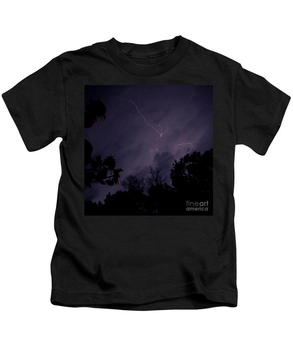 Summer Night Lightning Summer Thunder Storm Images Stormy Sky Storm Skyscapes Kids T-Shirt featuring the photograph Summer Night Lightning by Joshua Bales