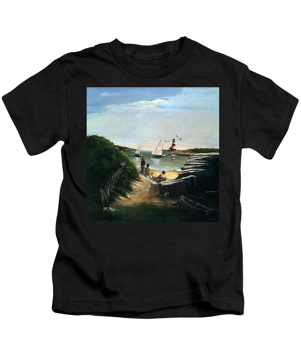 Ocean Kids T-Shirt featuring the painting Summer's End by Diane Strain