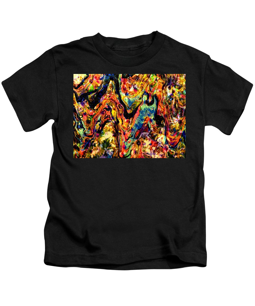 Floral Kids T-Shirt featuring the mixed media Summer's End Viii by Tina Baxter