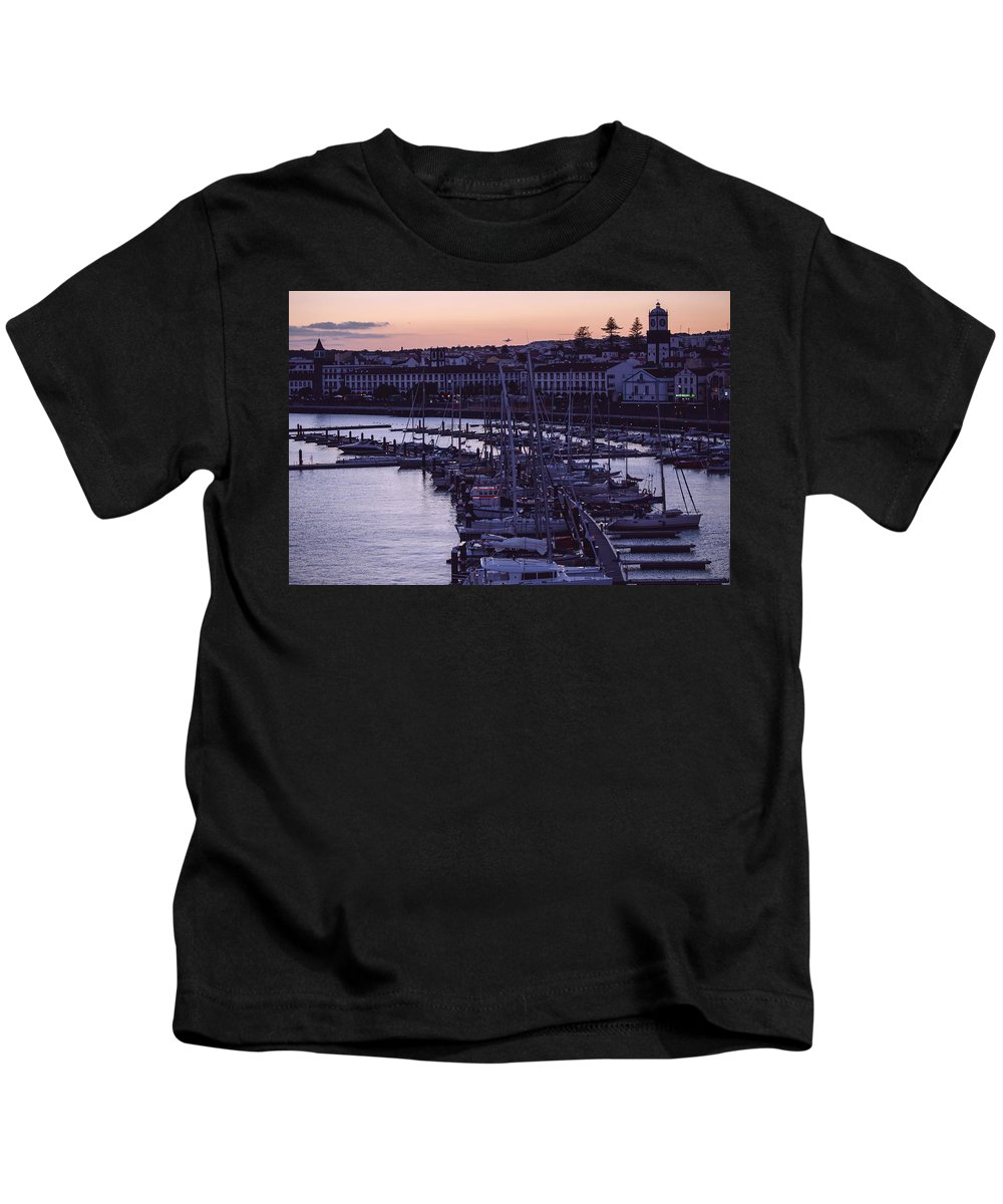 Sunset Kids T-Shirt featuring the photograph Sun Setting In Ponta Delgada by M Bernardo