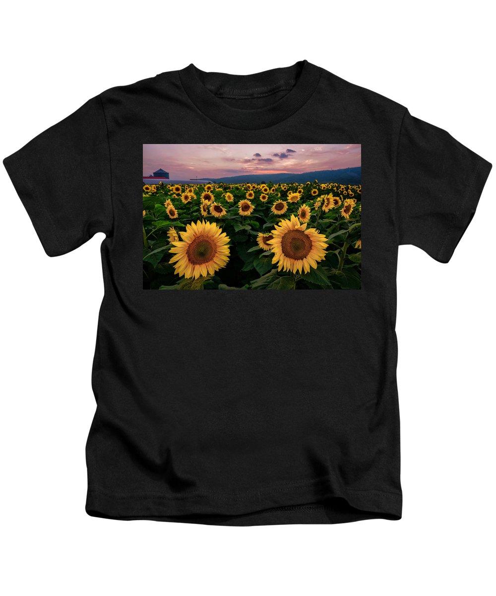 Sunflower Kids T-Shirt featuring the photograph Sunflower Sunset II by Mark Robert Rogers
