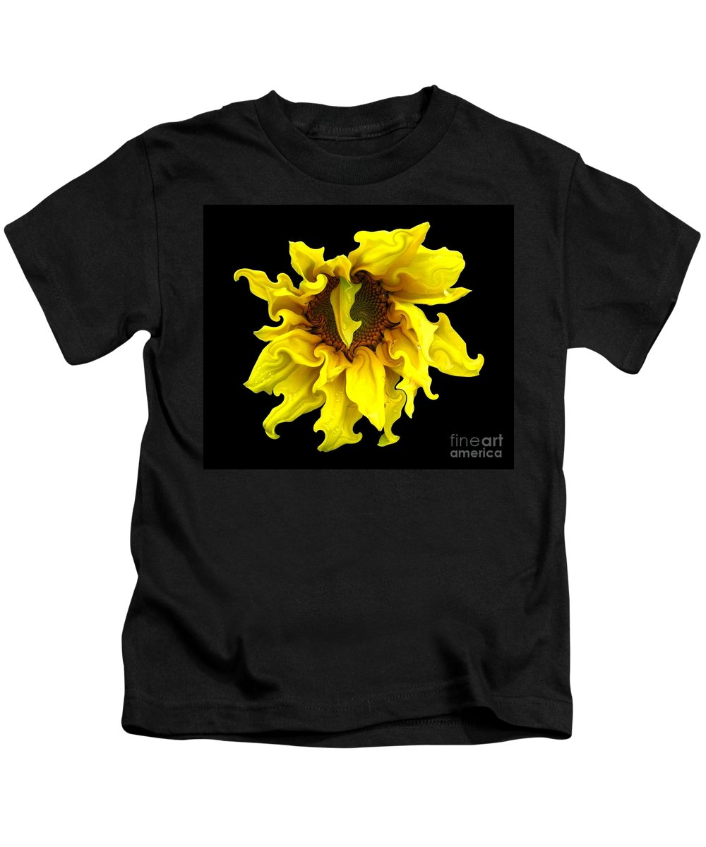 Sunflowers Kids T-Shirt featuring the photograph Sunflower With Curlicues Effect by Rose Santuci-Sofranko