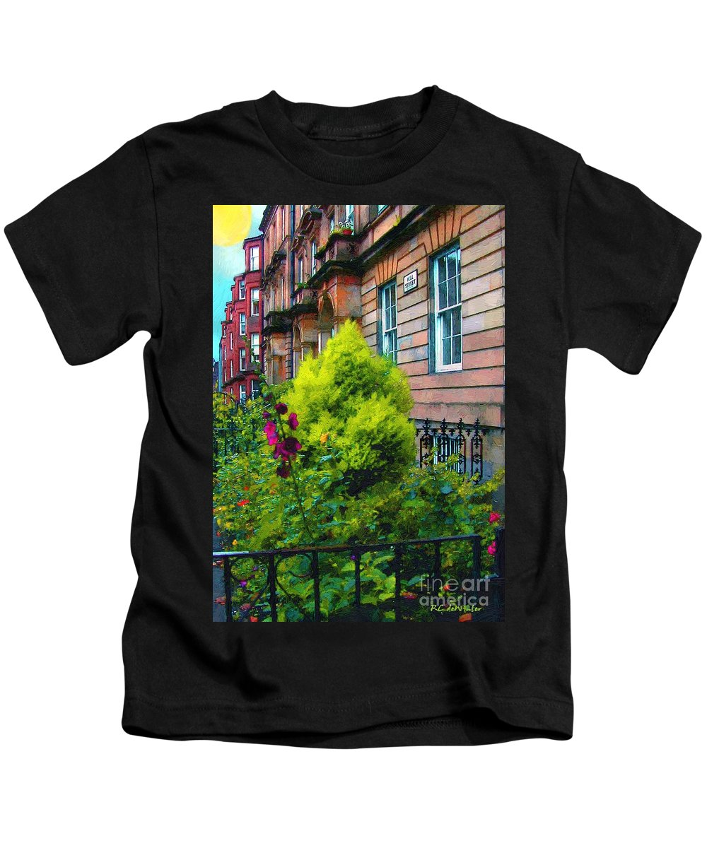 Houses Kids T-Shirt featuring the painting Sunny Morning Mayfair by RC DeWinter