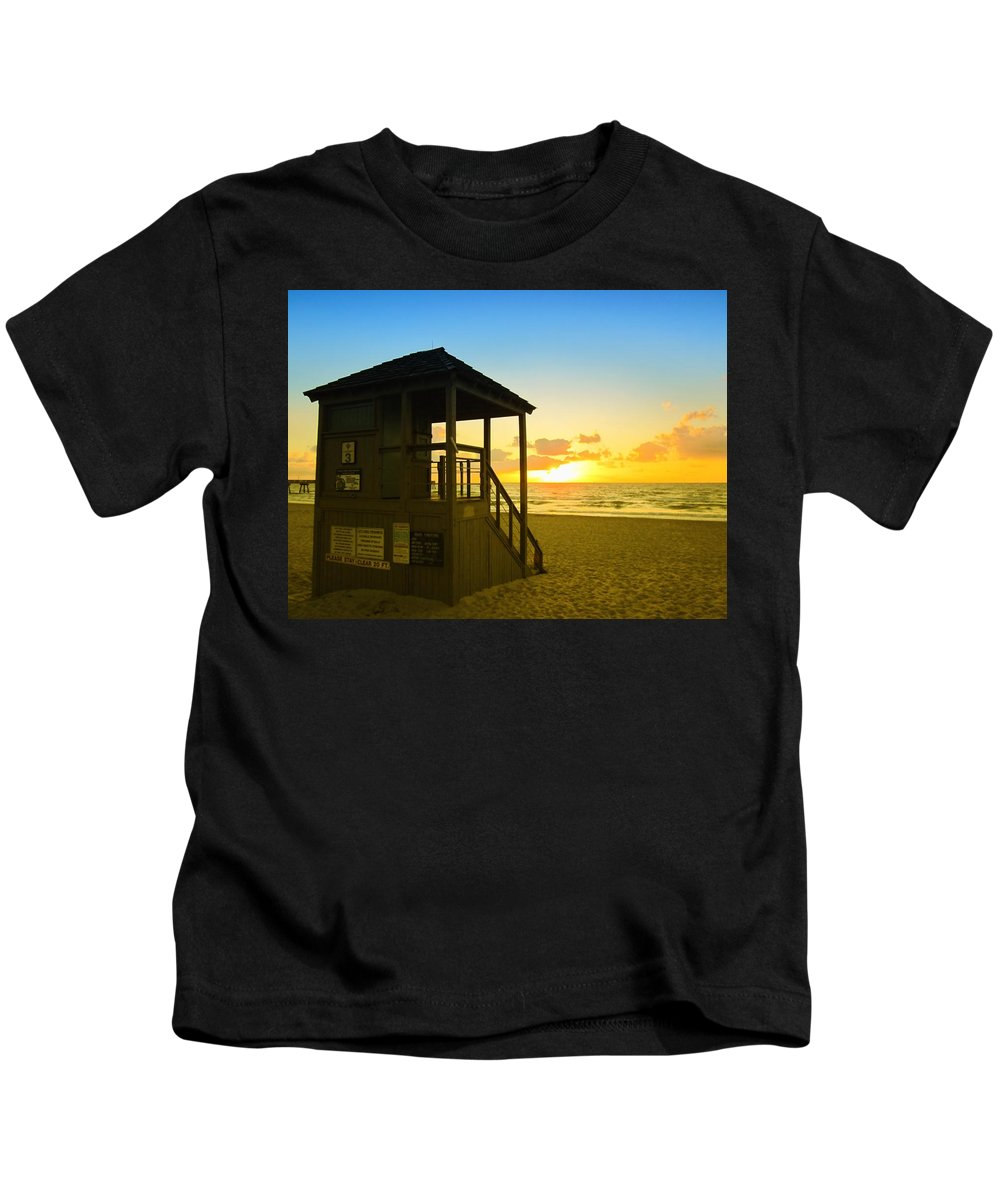 Sunrise Kids T-Shirt featuring the photograph Sunny Sunrise Lifeguard Tower by MTBobbins Photography