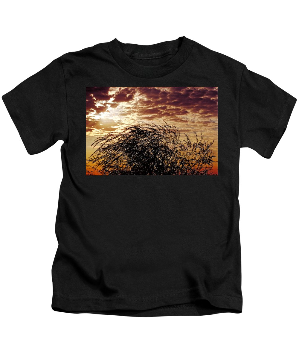 Nature Kids T-Shirt featuring the photograph Sunrise And Lacy Tree by Thomas Firak