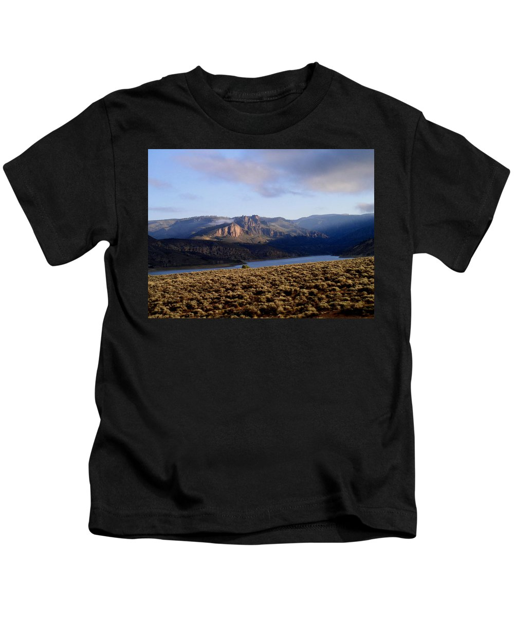 Lake Kids T-Shirt featuring the photograph Sunrise On Blue Mesa by Gary Emilio Cavalieri
