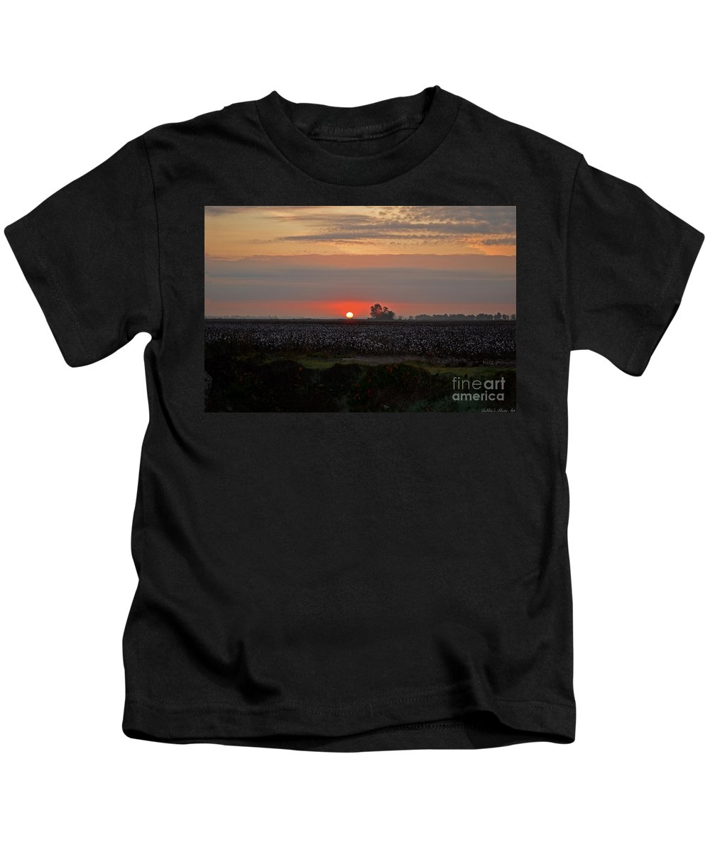 Landscape Kids T-Shirt featuring the photograph Sunrise On The Cotton Field by Debbie Portwood