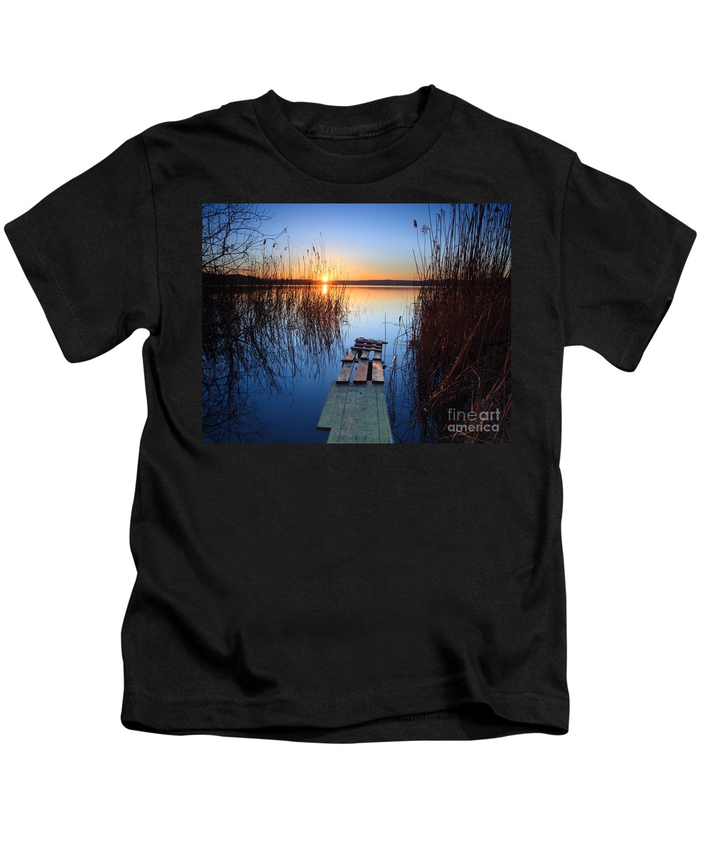 Pier Kids T-Shirt featuring the photograph Sunrise On The Lake by Matteo Colombo